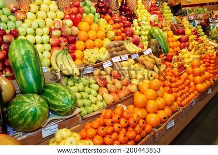 Fruits on a farm market - stock photo