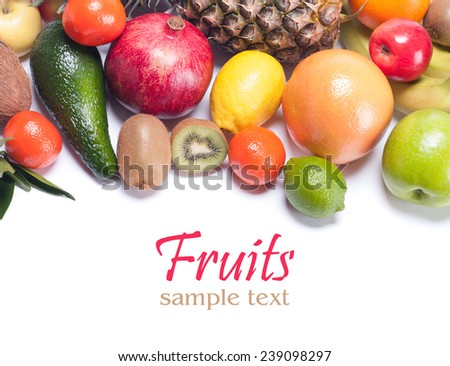 fruits on a white background - stock photo