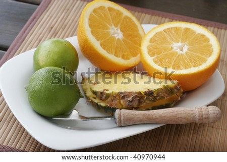fruits on plate - stock photo