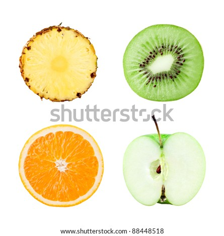 Fruits slices on white background - stock photo