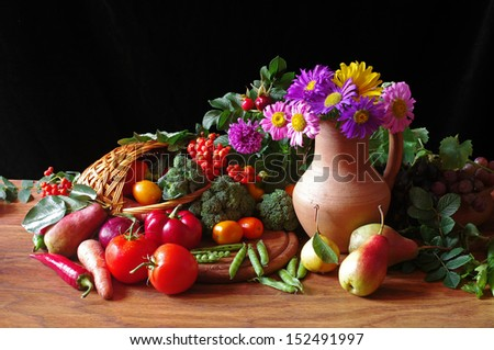 Fruits, vegetables and flowers   - stock photo