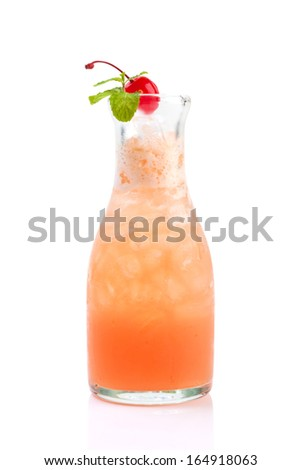 fruity mocktail in bottle isolated on white. - stock photo