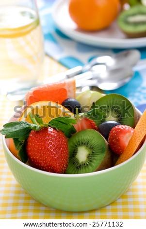 fruity salad ingredients. shallow dof - stock photo