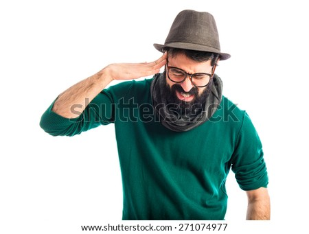 frustrated artist over white background  - stock photo