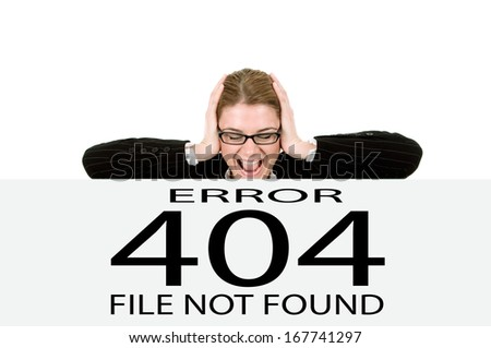 Frustrated business woman , page not found. - stock photo