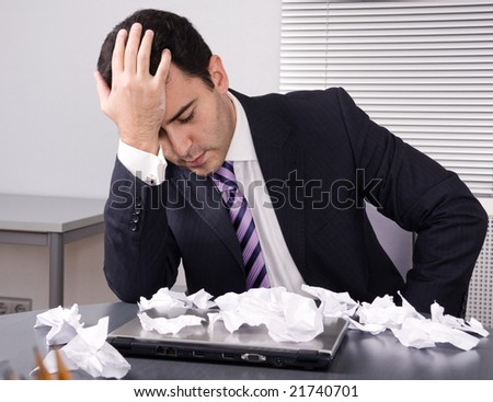 Frustrated businessman. Financial crisis - stock photo