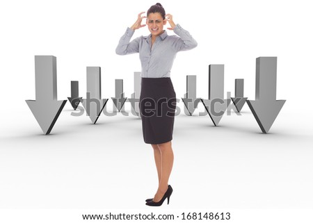 Frustrated businesswoman shouting against abstract design in white room - stock photo