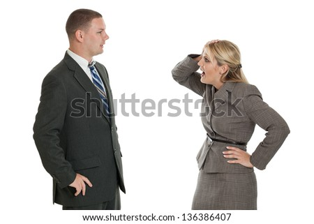 Frustrated businesswoman talking to a businessman isolated on a white background - stock photo