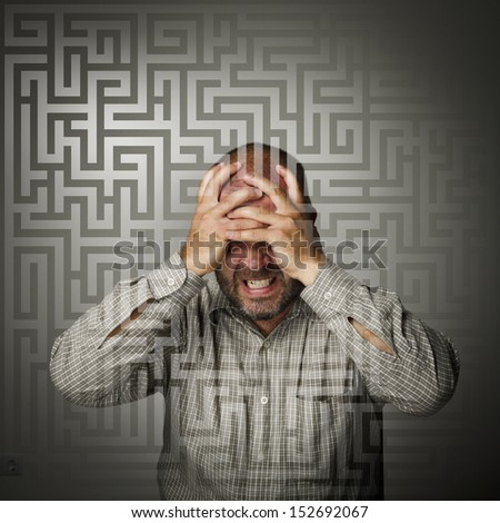 Frustrated. Expressions, feelings and moods. Man suffering from inner chaos. - stock photo