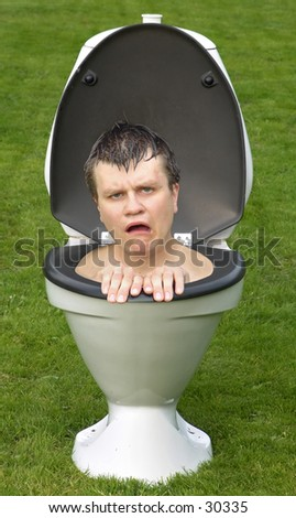 Frustrated man in toilet.... - stock photo