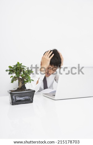 Frustrated mid adult businessman with laptop at desk in office - stock photo