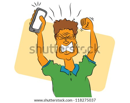 Frustrated Smart Phone User - stock photo