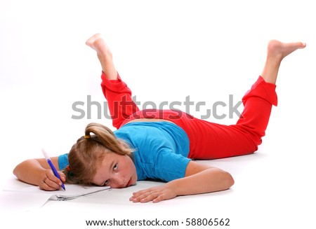 Frustrated student girl after hard studying - stock photo