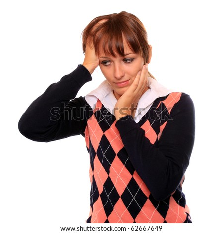 Frustrated student girl with headache on white background. - stock photo