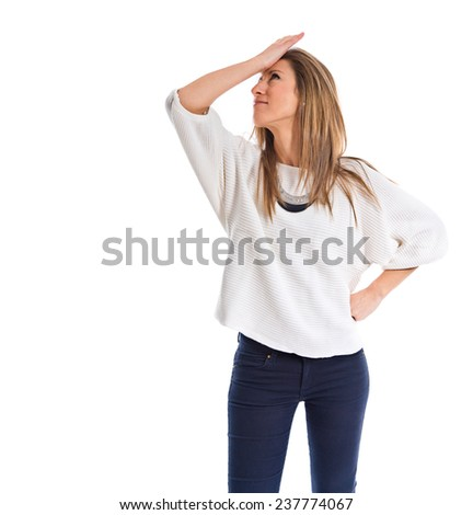 frustrated woman over white background - stock photo