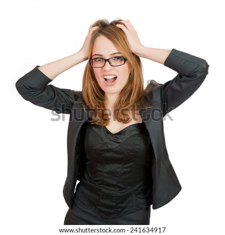 Frustration. Frustrated and stressed young businesswoman in suit. Beautiful young  caucasian woman isolated on white background. - stock photo