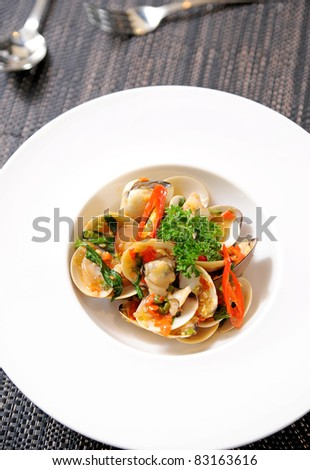 fry mussel - stock photo