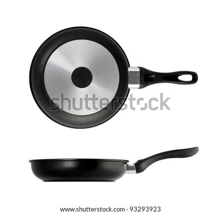Fry Pan, side view and  top view, isolated on white background - stock photo