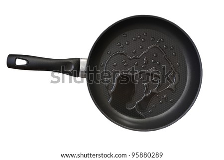 fry pan with cooking oil isolated on white - stock photo