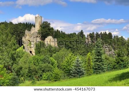 Frydstejn castle in Czech republic - stock photo