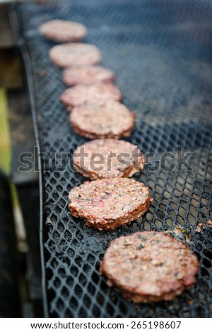 Frying hamburger - stock photo