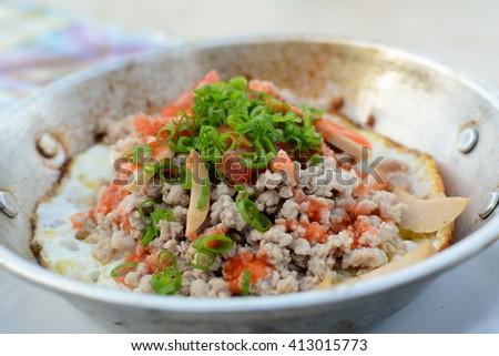 frying pan egg dish in restaurant. - stock photo
