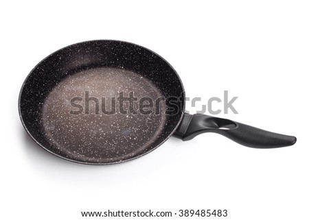 Frying pan isolated on white background.. - stock photo