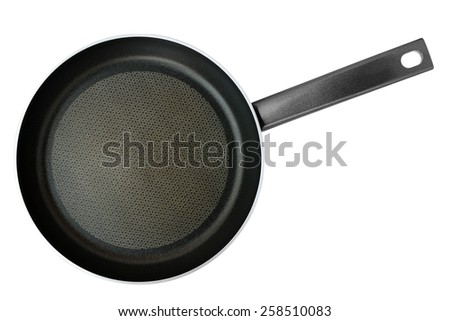 Frying pan isolated on white background. Top view. - stock photo