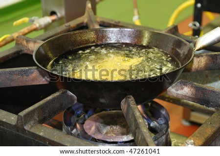 Frying pan on an Industrial Hob - stock photo