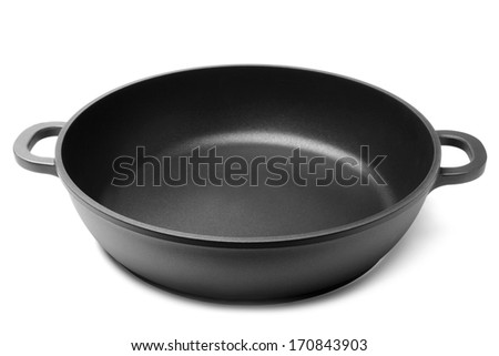 Frying pan on white background - stock photo