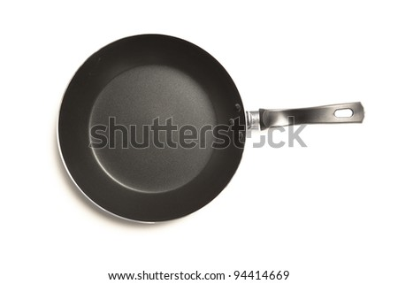 frying pan, top view, isolated on white - stock photo