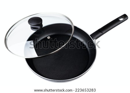 Frying pan with a teflon covering isolated on a white background - stock photo