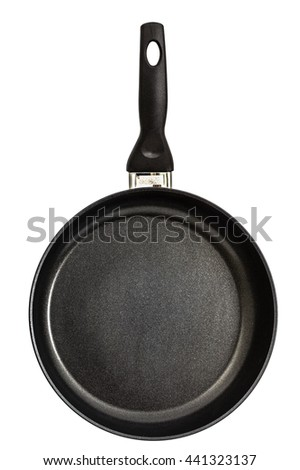 Frying pan with handle, isolated on white background - stock photo