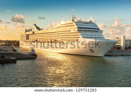 FT. LAUDERDALE, FL - JAN. 12: MSC Poesia, anchored in Port Everglades on Jan. 12, 2013. It is the first ship in the MSC Cruises fleet to be named outside of Italy on April 5, 2008 by Sophia Loren - stock photo