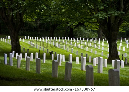Ft. Lawton Cemetery. Military personnel, their families, and civilian employees of the Army lie at rest in the Fort Lawton Cemetery in Seattle, Washington. - stock photo