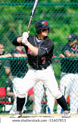 FT. WASHINGTON, PA - APRIL 23: Germantown Academy shortstop Sean Coyle, the 44th ranked prospect in high school baseball, bats in a game on April 23, 2010 in Ft. Washington, PA - stock photo