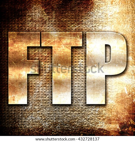 ftp, 3D rendering, metal text on rust background - stock photo