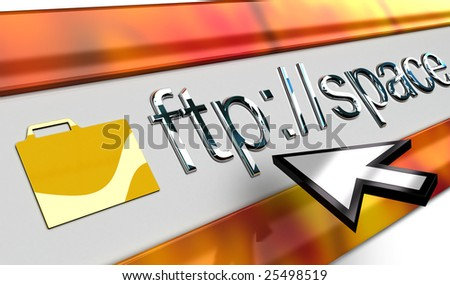 ftp Internet browser bar in perspective with smooth surface mouse pointer in vista style. - stock photo