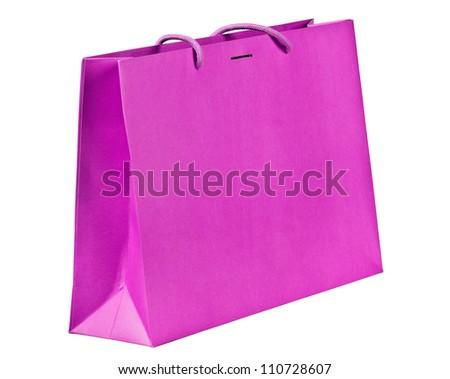 Fuchsia shopping bag on white. - stock photo