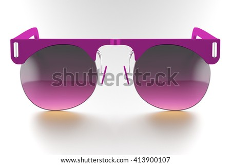 Fuchsia sunglasses isolated on white background. With clipping path. 3D render - stock photo