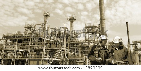 fuel and gas industry, engineers, all in a panoramic view - stock photo
