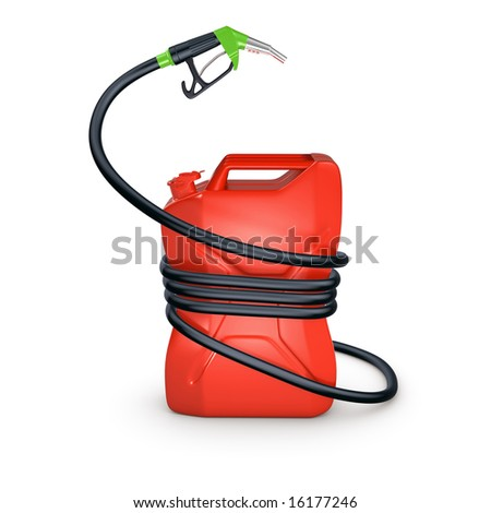 fuel canister compressed a hose isolated - stock photo