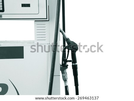 Fuel dispenser. dispenser pumping diesel or gasoline - stock photo