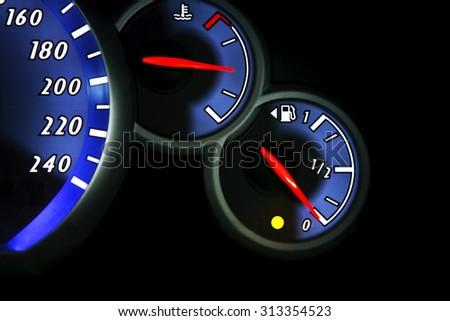 Fuel gage dash board close up - stock photo