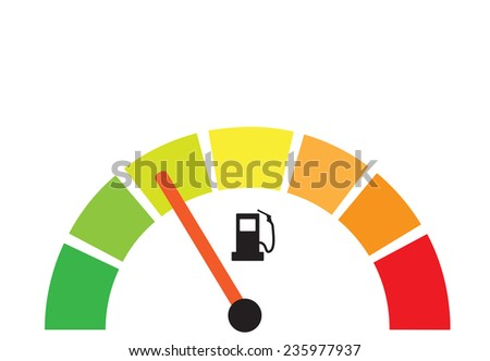 Fuel gauge illustration as energy efficiency concept - stock photo