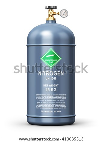 Fuel industry manufacturing concept: 3D render illustration of gray metal liquefied compressed natural nitrogen gas container or cylinder with high pressure gauge meter and valve isolated on white - stock photo