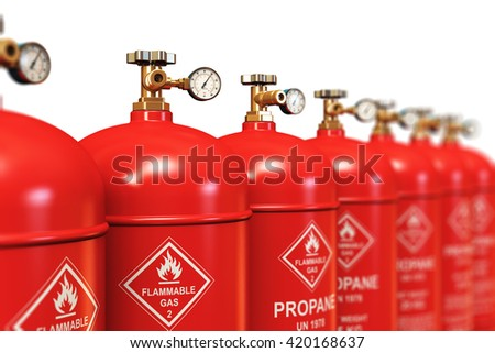 Fuel industry manufacturing concept: 3D render of the group of red metal steel liquefied compressed natural propane gas LNG or LPG containers or cylinders with high pressure gauge meters and valves - stock photo