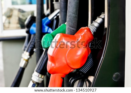 Fuel nozzle for gasoline and diesel - stock photo