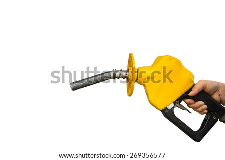 Fuel nozzle ,woman holding for refuel with clipping path. - stock photo