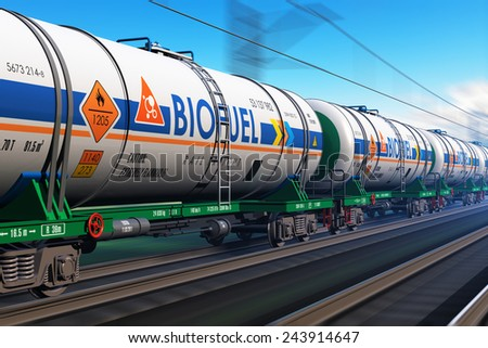 Fuel, oil and gas industry, ecology protection technology, logistics, cargo shipping and freight railroad transportation business concept: fast train with tankcars with biofuel with motion blur effect - stock photo